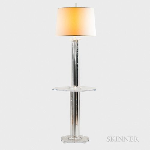 Lucite Floor Lamp with Integrated Table