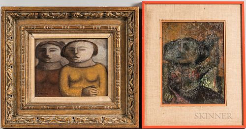 Arnaldo Miccoli (Italian/American, b. 1938)      Two Framed Paintings: Seated Female