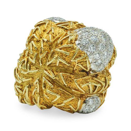 Large 18kt Gold Diamond Ladies Ring