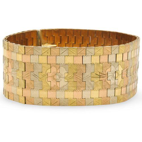 Vintage Triple Tone 18k Gold Italian Bracelet