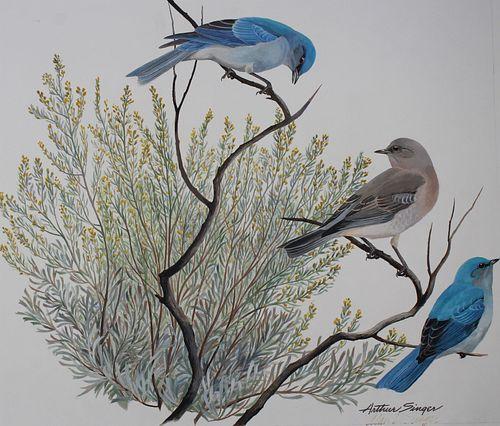"Arthur Singer (1917 - 1990) ""Bluebird & Sagebrush"""