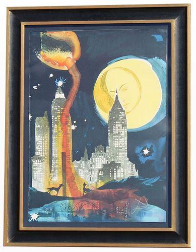 """Salvador Dali (1904 - 1989) """"Manhattan Skyline"""" EA"""