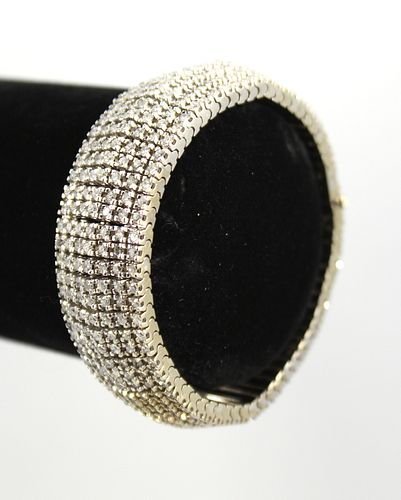 14K White Gold & Diamond Wide Bracelet