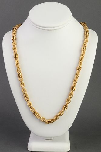 Italian 18K Yellow Gold Hollow Link Chain Necklace
