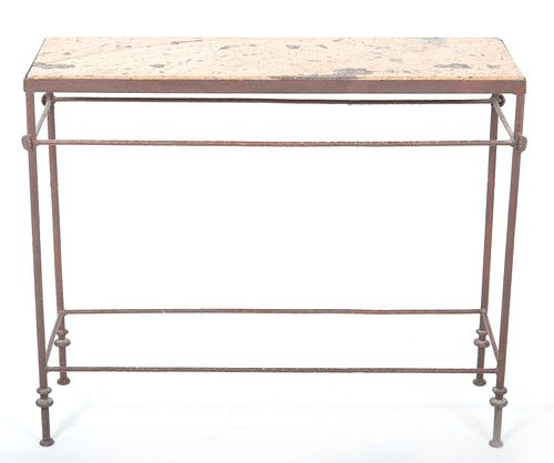 Giacometti Style Stone Top Metal Console Table