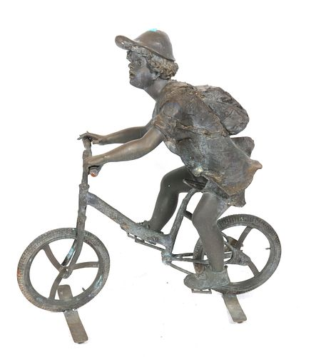 """Large Cast Iron """"Boy on Bicycle"""" Garden Sculpture"""
