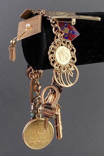 14K Yellow Gold & Gold-Tone Judaica Charm Bracelet