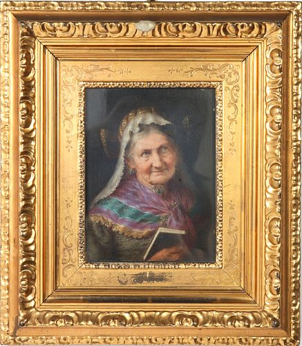 Continental School Portrait of Woman Oil on Panel