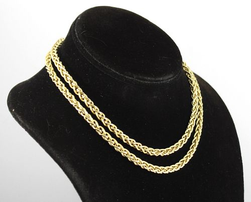 Modern 14K Yellow Gold Fancy Chain Link Necklace
