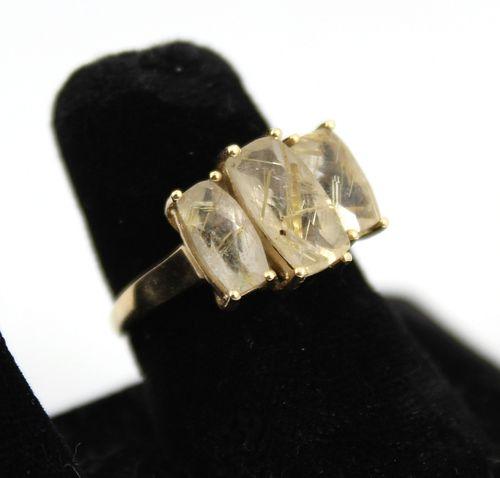 Vintage 10K Gold & Actinolite Quartz Cocktail Ring