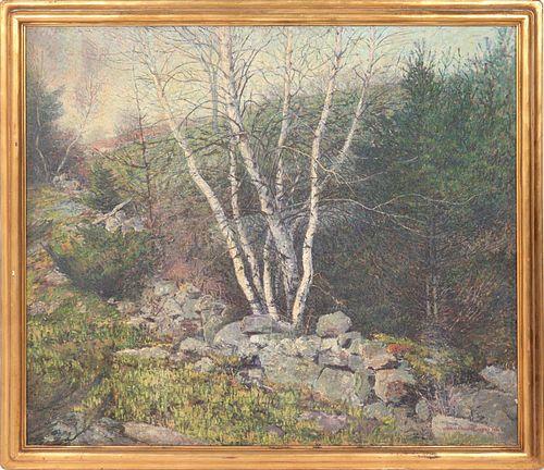 Vivian Milner Akers Landscape with Birches Oil