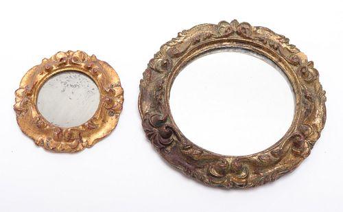 Petite Round Mirrors in Gilt Frames, 2