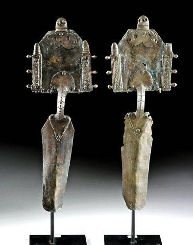 Pair Huge Gepidic Silver Fibulae,  ex-Christie's