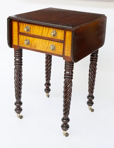American Mahogany and Tiger Maple Drop Leaf Two-Drawer Work Stand, Circa 1825