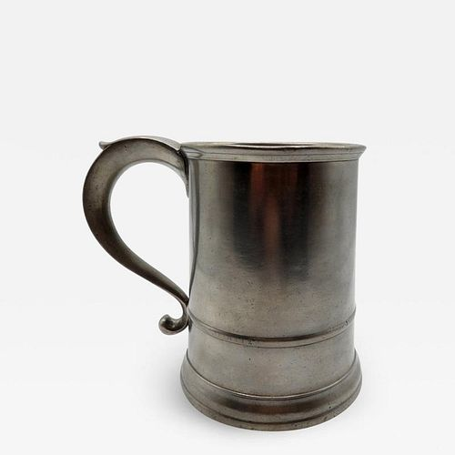 QUART PEWTER MUG BY SAMUEL HAMLIN SR.