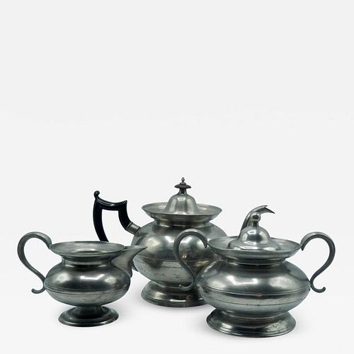 ASSEMBLED PEWTER TEA SET BY THE BOARDMAN GROUP