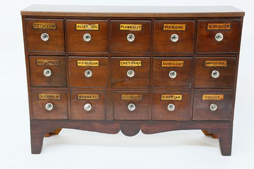 15 Drawer Apothecary Cabinet with Printed Placards