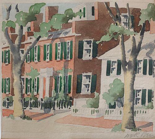 "Doris & Richard Beer Watercolor on Paper ""East Brick"""