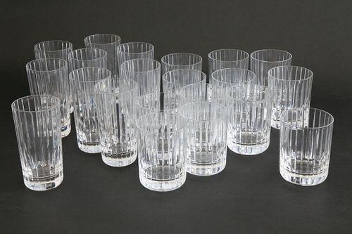 Set of Twelve  Signed Baccarat Crystal Scotch Glasses and Nine Highballs