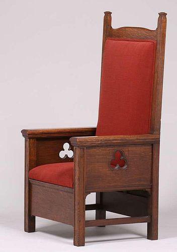 Mathews Furniture Shop Tall Oak Armchair c1912