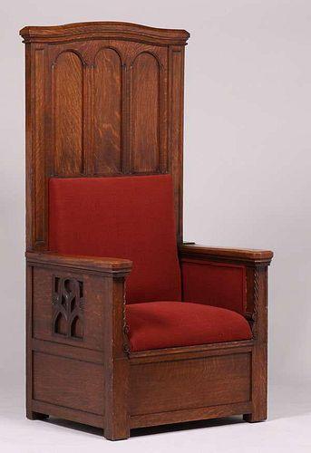 Mathews Furniture Shop Tall Oak Throne Chair c1912