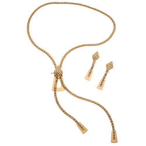 """Set of necklace and pair of earrings in 18k yellow gold. Weight: 87.2 g. Length: 34"""""""