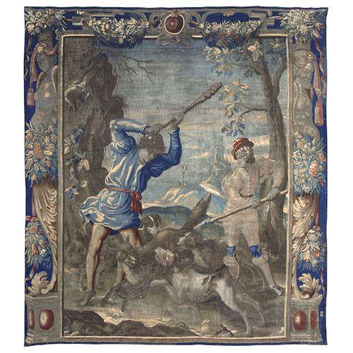 "La Caza del Zorro. Mortlake, England, 1646. Tapestry made of wool and cotton fibers. 125.9 x 111.8"" (320 x 284 cm)"