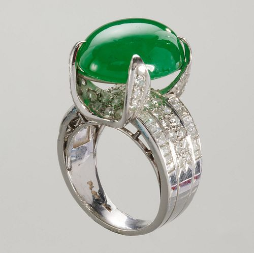 Platinum, jade & diamond ring