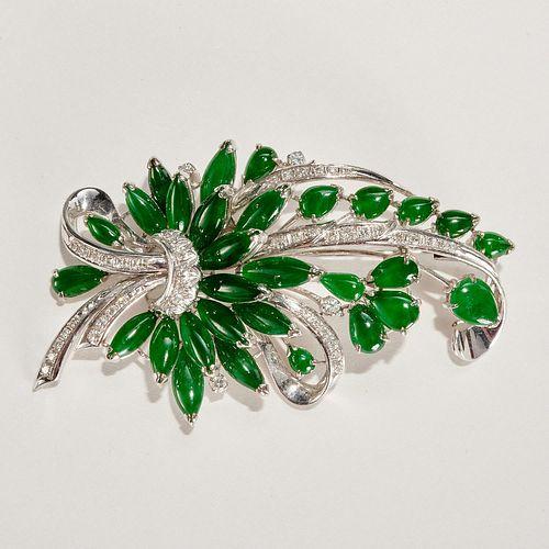 14k white gold, jade & diamond brooch