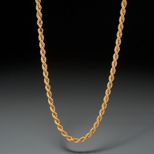 Italian 18k gold rope chain necklace