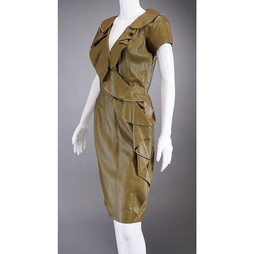 Oscar de la Renta ruffled leather dress