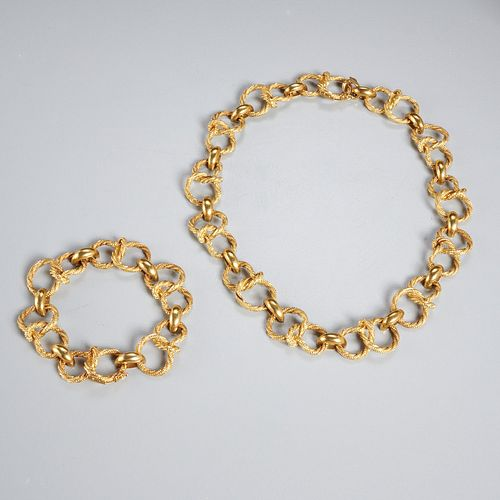 18k yellow gold necklace & bracelet set