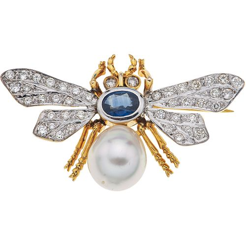BROOCH WITH CULTURED PEARL, SAPPHIRE AND DIAMONDS. 14K YELLOW GOLD