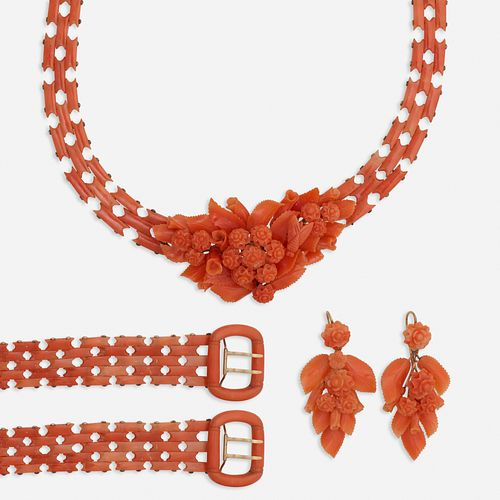 Suite of Antique coral jewelry