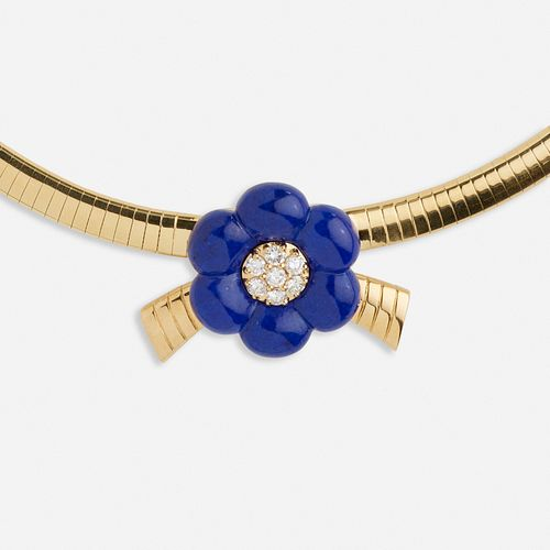 Van Cleef & Arpels, Gold, lapis lazuli, and diamond flower necklace