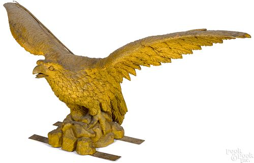 American carved and painted spread winged eagle