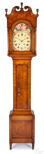 Pennsylvania tiger maple tall case clock