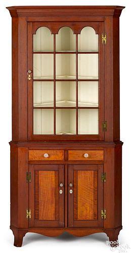 Pennsylvania Federal two-part corner cupboard