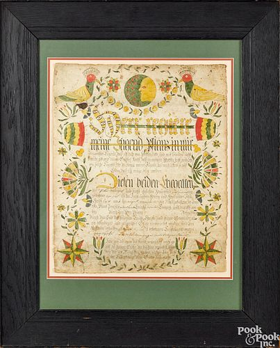 Northampton County fraktur birth certificate
