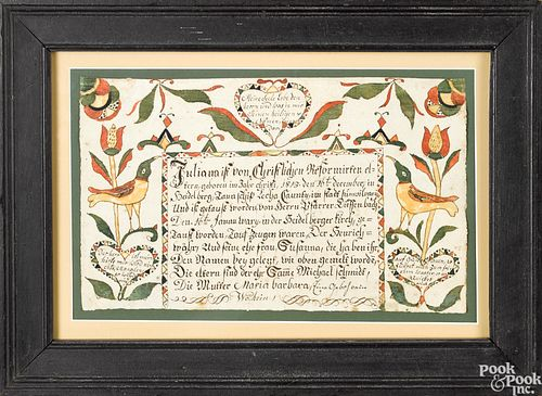 Pair of Pennsylvania fraktur birth certificates