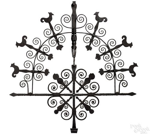 Important Pennsylvania wrought iron pot holder