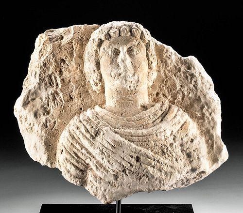 Palmyran Limestone Funerary Relief w/ Male Bust