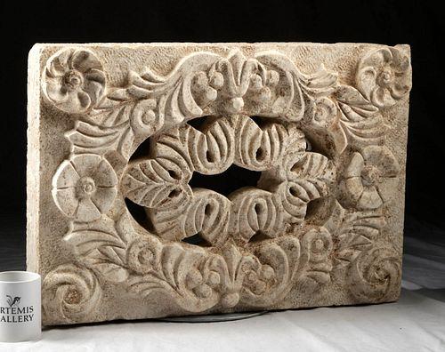 Byzantine Limestone Relief Panel Botanical Design