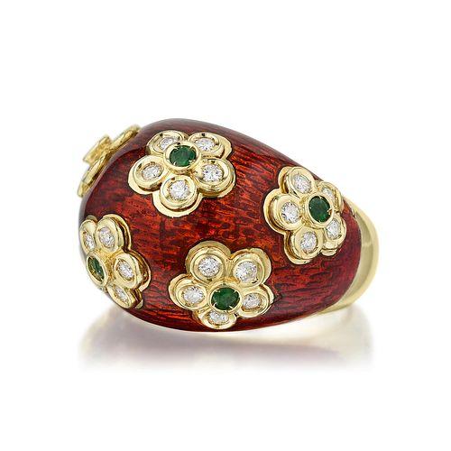Giovane Diamond Emerald and Enamel Bombe Ring, Italian