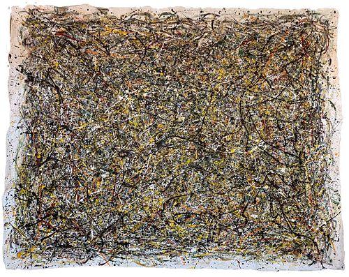 Jackson Pollock Style Large Abstract Oil on Canvas
