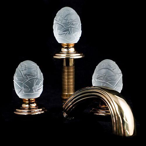 """Lalique THG Paris Frosted """"Venice"""" Faucet Set"""