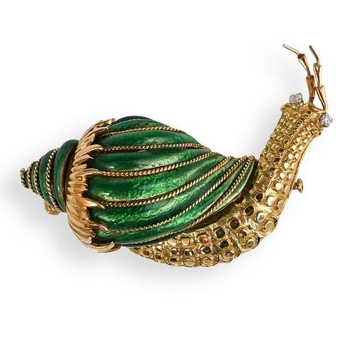 David Webb 18k Gold and Enamel Snail Brooch
