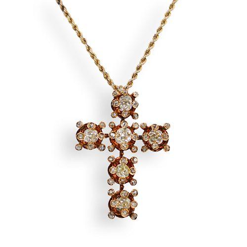 Antique 18k Gold and Diamond Cross