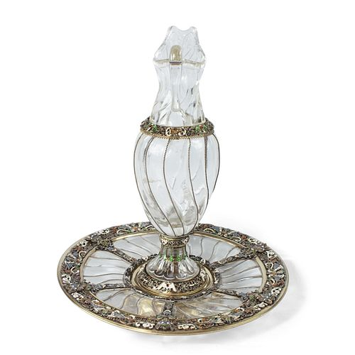 Rock Crystal Ewer and Tray - Viennese Silver Gilt