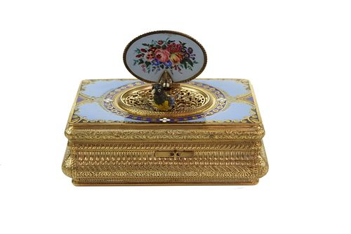 Silver Gilt and Enamel Bird Box, Charles Bruguier